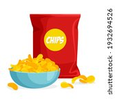 package and plate of chips in... | Shutterstock .eps vector #1932694526