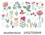 vector hand drawn flowers and...   Shutterstock .eps vector #1932703049