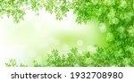 fresh green leaves spring... | Shutterstock . vector #1932708980