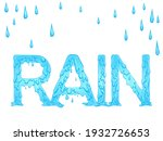 Lettering Dripping Word Rain...