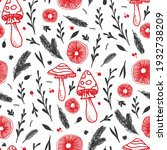 mushrooms hand drawn red and... | Shutterstock .eps vector #1932738209