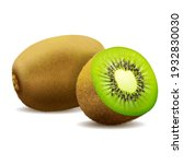 whole juicy kiwi and half green ...   Shutterstock .eps vector #1932830030