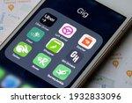 Small photo of Portland, OR, USA - Mar 8, 2021: Assorted gig apps are seen on an iPhone - Uber Driver, Lyft Driver, Dasher, Postmates Fleet, Instacart Shopper, GH Drivers, Tasker by TaskRabbit, Rover, Survey Junkie.