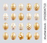 easter eggs set gold color with ... | Shutterstock .eps vector #1932834713