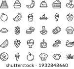 Food Line Icon Set   Watermelon ...