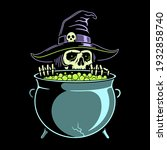 skeleton witch preparing a... | Shutterstock .eps vector #1932858740