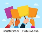 people with placards. protest.... | Shutterstock .eps vector #1932866456