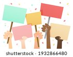 people with placards. protest.... | Shutterstock .eps vector #1932866480