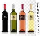 set of transparent wine bottles ...