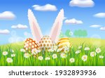 happy easter colored eggs... | Shutterstock .eps vector #1932893936
