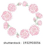 pink rose frame with hand drawn ... | Shutterstock .eps vector #1932903056