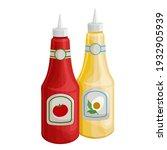 mustard and tonato ketchup... | Shutterstock .eps vector #1932905939
