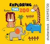 exploring the zoo funny animal... | Shutterstock .eps vector #1932953720