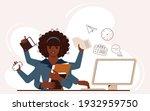multitasking african american... | Shutterstock .eps vector #1932959750