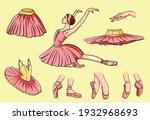 vector ballet set. ballerina... | Shutterstock .eps vector #1932968693