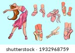 vector ballet set. ballerina... | Shutterstock .eps vector #1932968759