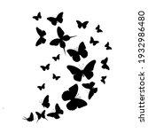 flock of silhouette black... | Shutterstock .eps vector #1932986480