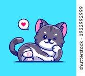 cute cat lay cartoon vector... | Shutterstock .eps vector #1932992999