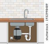 food waste disposer installed... | Shutterstock .eps vector #1932998489