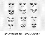 cartoon faces set hand drawing... | Shutterstock .eps vector #193300454