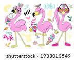 set of summer flamingos... | Shutterstock .eps vector #1933013549