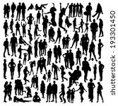 people silhouettes set | Shutterstock .eps vector #193301450