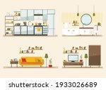 set with interiors  bathroom ... | Shutterstock .eps vector #1933026689