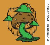 Green mushroom with clouds hand drawn vector illustration suitable for stickers, t shirt, totebags, hat, and poster design