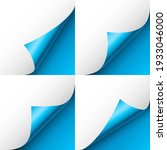 set of blue paper curls. curled ... | Shutterstock .eps vector #1933046000