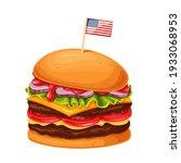 hamburger or cheeseburger with... | Shutterstock .eps vector #1933068953