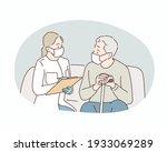 doctor and senior man wearing...   Shutterstock .eps vector #1933069289