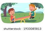 happy girl and boy kids...   Shutterstock .eps vector #1933085813