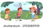 boy  girl kids walk  run  pick... | Shutterstock .eps vector #1933085939