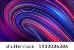 3d render, abstract background with red blue neon rays and glowing lines. Loop macro wallpaper. Speed of light, macro vortex in ultra violet spectrum