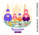 moslem family iftar enjoying... | Shutterstock .eps vector #1933122860