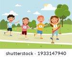 little children are running... | Shutterstock .eps vector #1933147940
