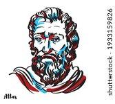 atlas engraved vector portrait... | Shutterstock .eps vector #1933159826