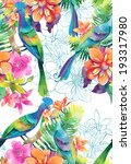 watercolor exotic birds | Shutterstock . vector #193317980