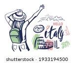 woman tourist waving her hand...   Shutterstock .eps vector #1933194500