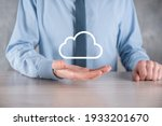 Small photo of Businessman hand holding cloud.Cloud computing concept, close up of young business man with cloud over his hand.The concept of cloud service