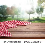 Red Checkered Tablecloth On...