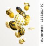 composition of 3d golden easter ... | Shutterstock .eps vector #1933261490