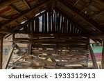Inside Rustic Wooden Barn. Old...