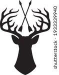 vector deer head with horns and ... | Shutterstock .eps vector #1933339940