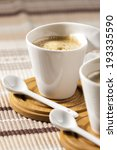 cups of coffee on place mats | Shutterstock . vector #193335590