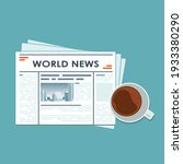 news concept. newspaper with... | Shutterstock .eps vector #1933380290