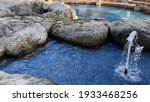 Fountain With Blue Water And...