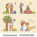 people are hiking with... | Shutterstock .eps vector #1933469180