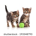 Stock photo cute little kittens with ball of green threads on white background 193348793