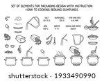 cooking dumplings. lineart... | Shutterstock .eps vector #1933490990